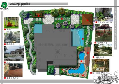 中式别墅彩色平面图