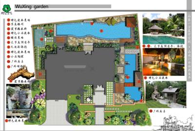 巴厘岛风格别墅彩色平面图